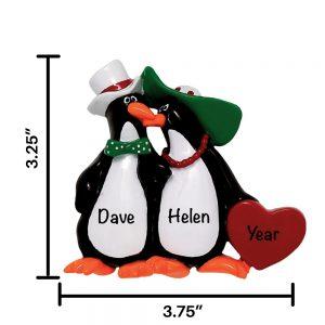 Floppy Hat Penguin Couple Personalized Christmas Ornament