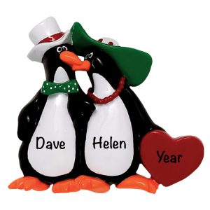 Floppy Hat Penguins Personalized Christmas Ornament