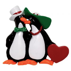 Floppy Hat Penguins Personalized Christmas Ornament - Blank