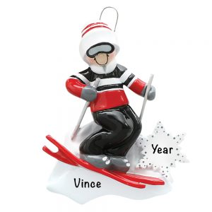 Skiing Guy Personalized Christmas Ornament