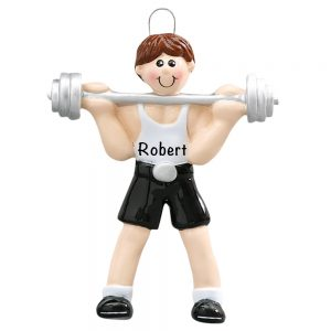 Weightlifter Personalized Christmas Ornament