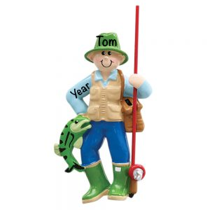 Fly Fishing Guy Personalized Christmas Ornament