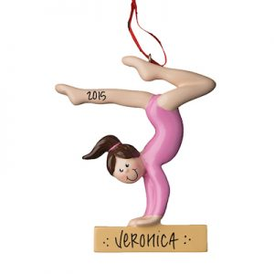 Gymnast on Beam With Brown Hair