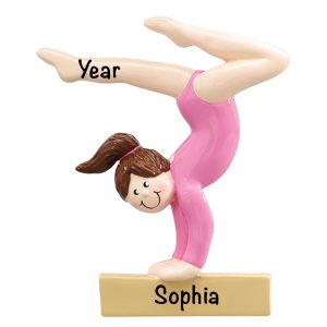 Gymnast Brown Hair on Beam Personalized Christmas Ornament