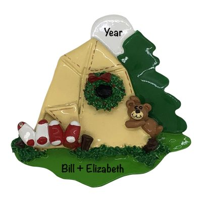 Camping Tent in the woods Personalized Christmas Ornament