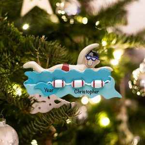 Personalized Swimming Guy Christmas Ornament