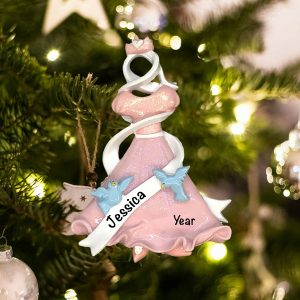 Personalized Pink Dress with Blue Birds Christmas Ornament