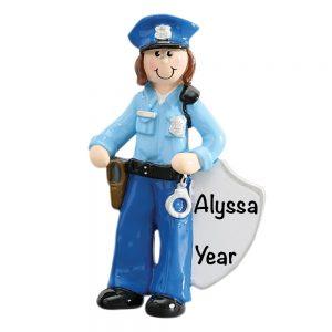 Police Woman Personalized Christmas Ornament