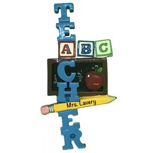 Teacher ABC Personalized Christmas Ornament