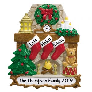 Fireplace Stockings Family of 3 Personalized Christmas Ornament