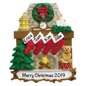 Fireplace Stockings Family of 4 Personalized Christmas Ornament