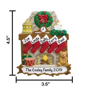 Fireplace Family of 5 Personalized Christmas Ornament