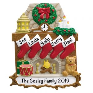 Fireplace Stockings Family of 5 Personalized Christmas Ornament