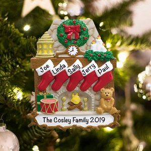 Personalized Fireplace Stockings Family of 5 Christmas Ornament