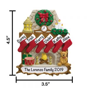 Fireplace Family of 6 Personalized Christmas Ornament