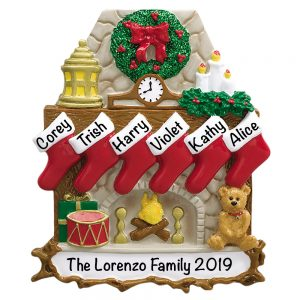 Fireplace Stockings Family of 6 Personalized Christmas Ornament