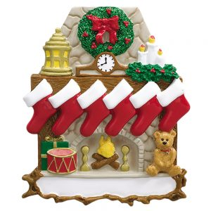 Fireplace Stockings Family of 6 Personalized Christmas Ornament - Blank