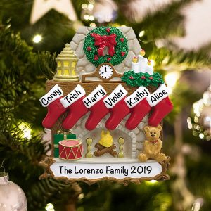 Personalized Fireplace Stockings Family of 6 Christmas Ornament