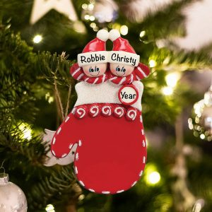 Personalized Red Mitten Couple Christmas Ornament