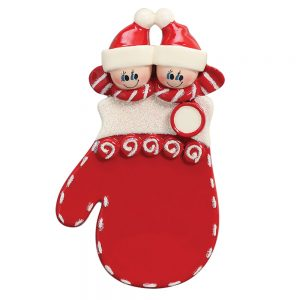 Red Mitten Couple Personalized Christmas Ornament - Blank