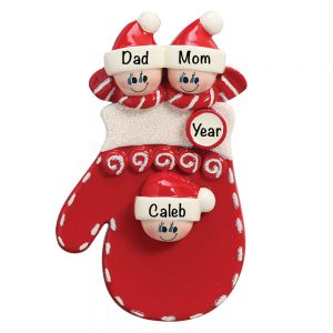Red Mitten Family of 3 Personalized Christmas Ornament