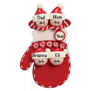 Red Mitten Family of 4 Personalized Christmas Ornament