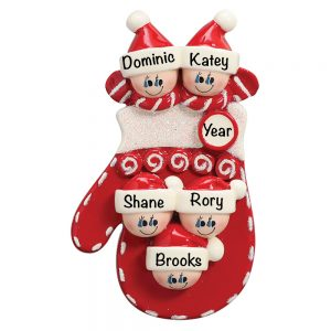 Red Mitten Family of 5 Personalized Christmas Ornament
