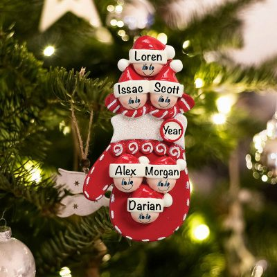 Personalized Red Mitten Family of 6 Christmas Ornament