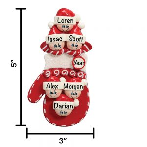 Red Mitten Family of 6 Personalized Christmas Ornament