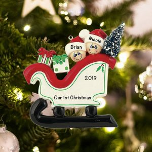 Personalized Sleigh Family of 2 Christmas Ornament