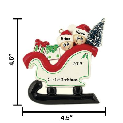Sleigh Couple Personalized Christmas Ornament