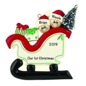 Sleigh Family of 2 Personalized Christmas Ornament