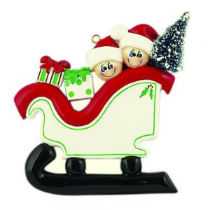 Sleigh Family of 2 Personalized Christmas Ornament - Blank