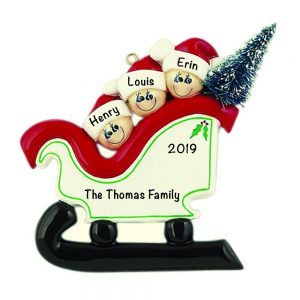 Sleigh Family of 3 Personalized Christmas Ornament