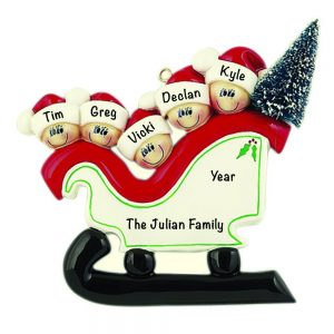 Sleigh Family of 5 Personalized Christmas Ornament