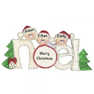 Noel Family of 3 Personalized Christmas Ornament