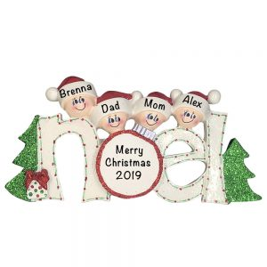Noel Family of 4 Personalized Christmas Ornament