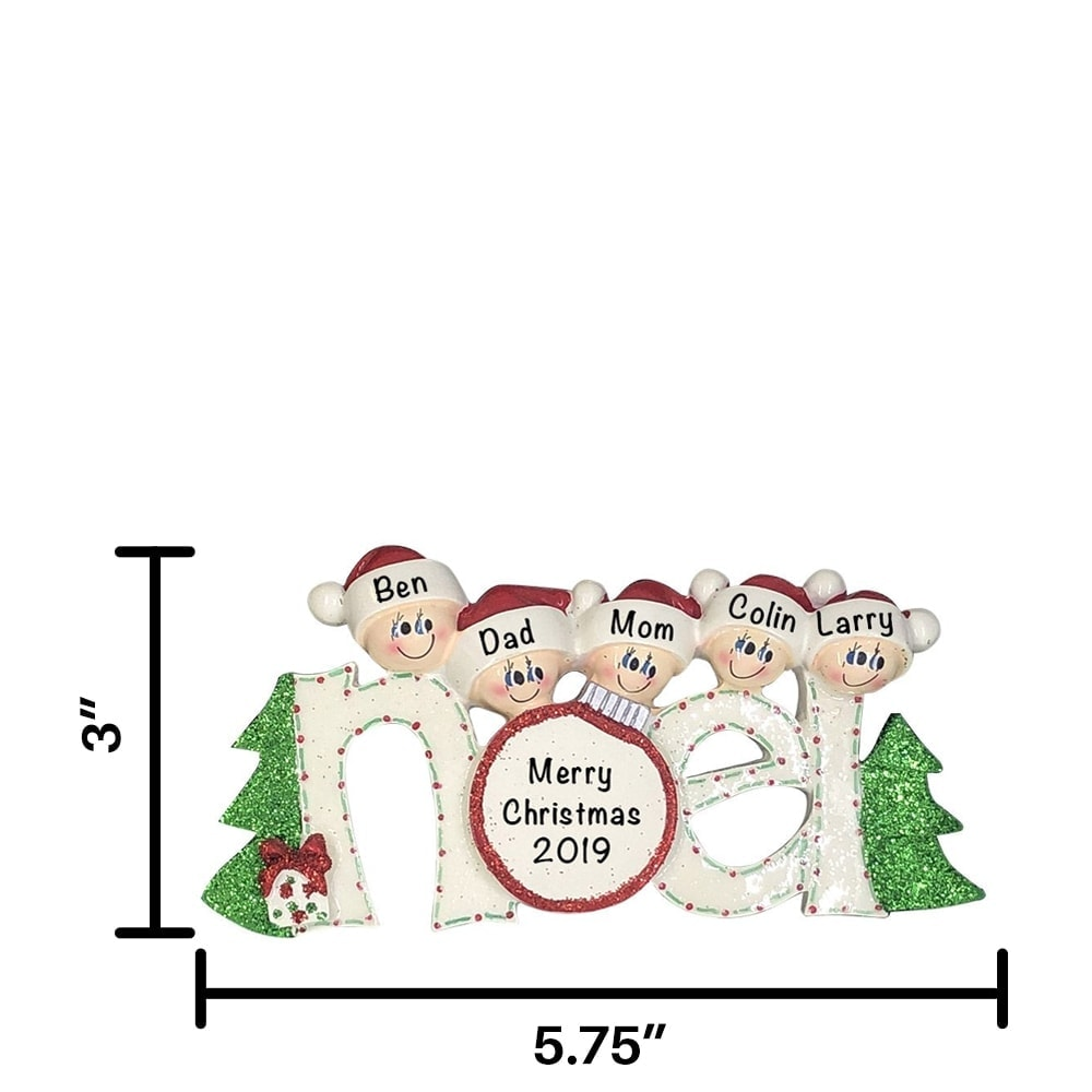 Noel Family of 5 Personalized Ornament - Free Personalization