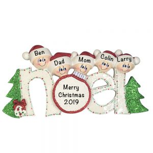 Noel Family of 5 Personalized Christmas Ornament