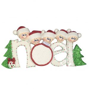 Noel Family of 5 Personalized Christmas Ornament - Blank