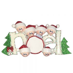 Noel Family of 6 Personalized Christmas Ornament - Blank