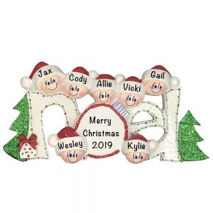Noel Family of 7 Personalized Christmas Ornament