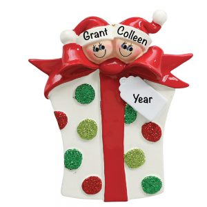 Gift Box Couple personalized Christmas Ornament