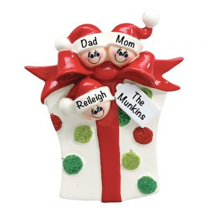 Gift Family of 3 Personalized Christmas Ornament