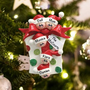 Personalized Gift Box Family of 5 Christmas Ornament