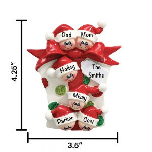 Gift Box Family of 6 Personalized Christmas Ornament