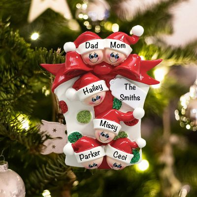 Personalized Gift Box Family of 6 Christmas Ornament