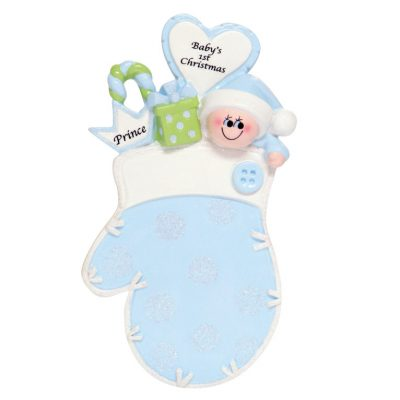 Baby's 1st Christmas Blue Prince Mitten Personalized Christmas Ornament - Blank