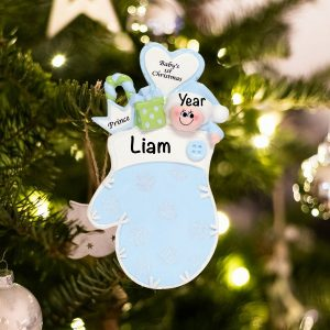 Personalized Blue Baby First Mitten Christmas Ornament