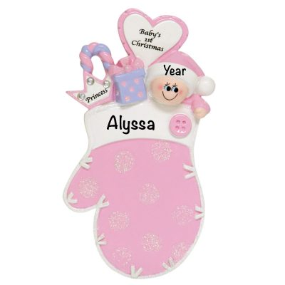 Baby's 1st Christmas Pink Princess Mitten Personalized Christmas Ornament